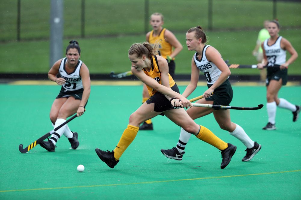 Iowa Hawkeyes Sofie Stribos (9) against the Michigan State Spartans Sunday, September 29, 2019 at Grant Field. (Brian Ray/hawkeyesports.com)