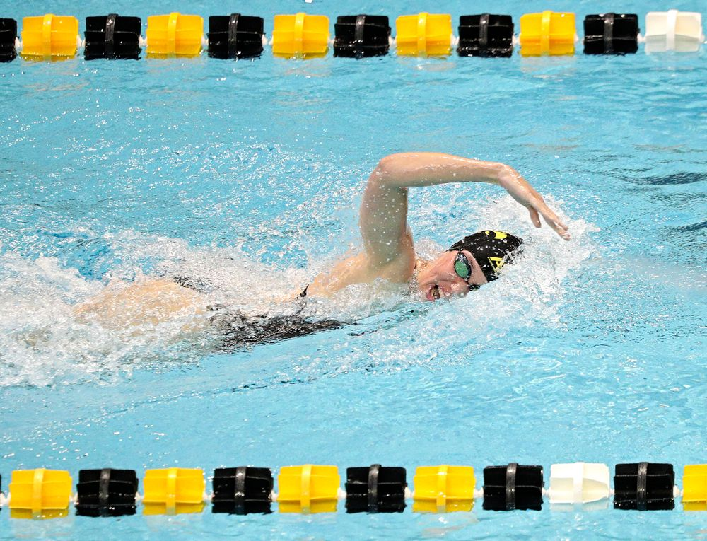 Iowa's Allyssa Fluit swims the women's 200-yard freestyle event during their meet against Michigan State and Northern Iowa at the Campus Recreation and Wellness Center in Iowa City on Friday, Oct 4, 2019. (Stephen Mally/hawkeyesports.com)