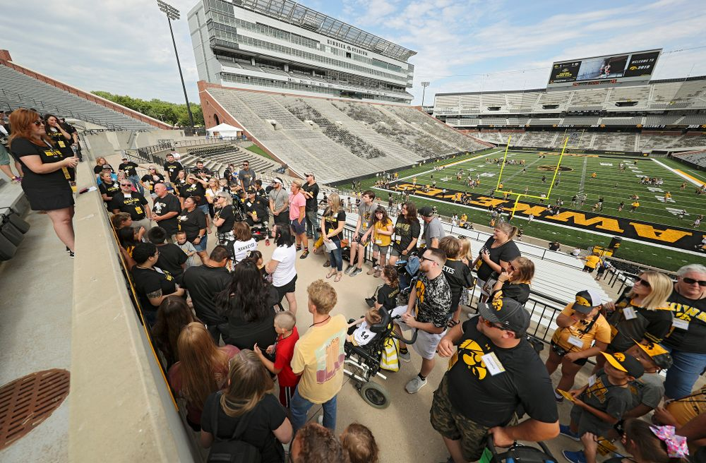 Kid Captains and their families prepare for a tour during Kids Day at Kinnick Stadium in Iowa City on Saturday, Aug 10, 2019. (Stephen Mally/hawkeyesports.com)