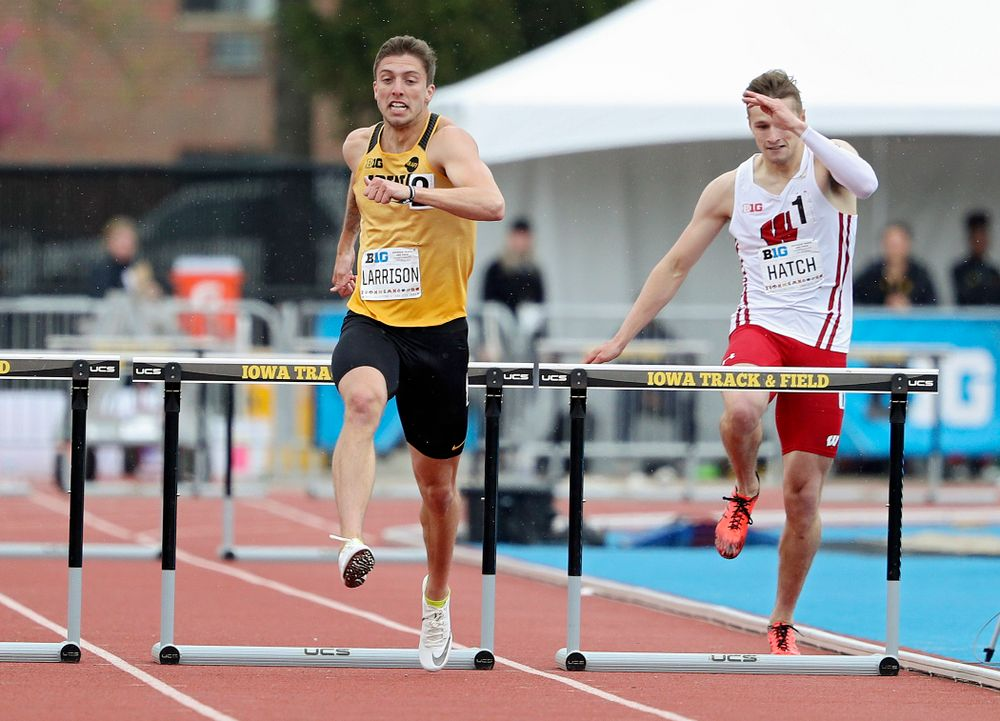 Iowa's Noah Larrison runs the men's 400 meter hurdles event on the third day of the Big Ten Outdoor Track and Field Championships at Francis X. Cretzmeyer Track in Iowa City on Sunday, May. 12, 2019. (Stephen Mally/hawkeyesports.com)