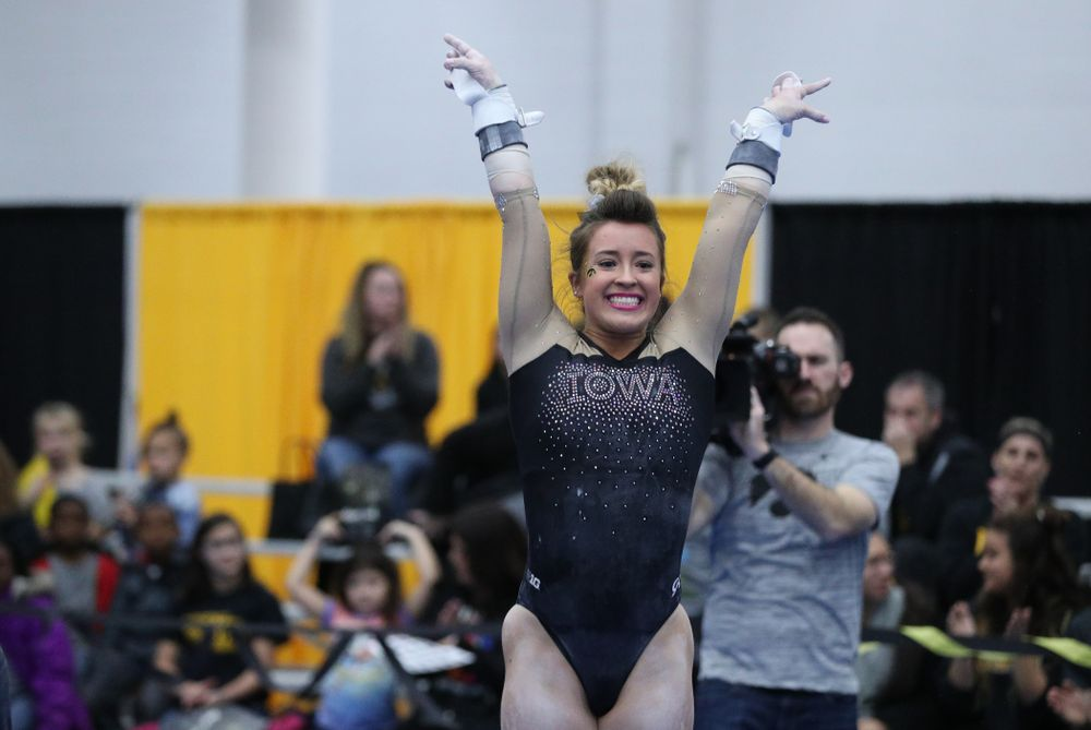Madison Kampschroeder competes on the bars during the Black and Gold intrasquad meet Saturday, December 1, 2018 at the University of Iowa Field House. (Brian Ray/hawkeyesports.com)