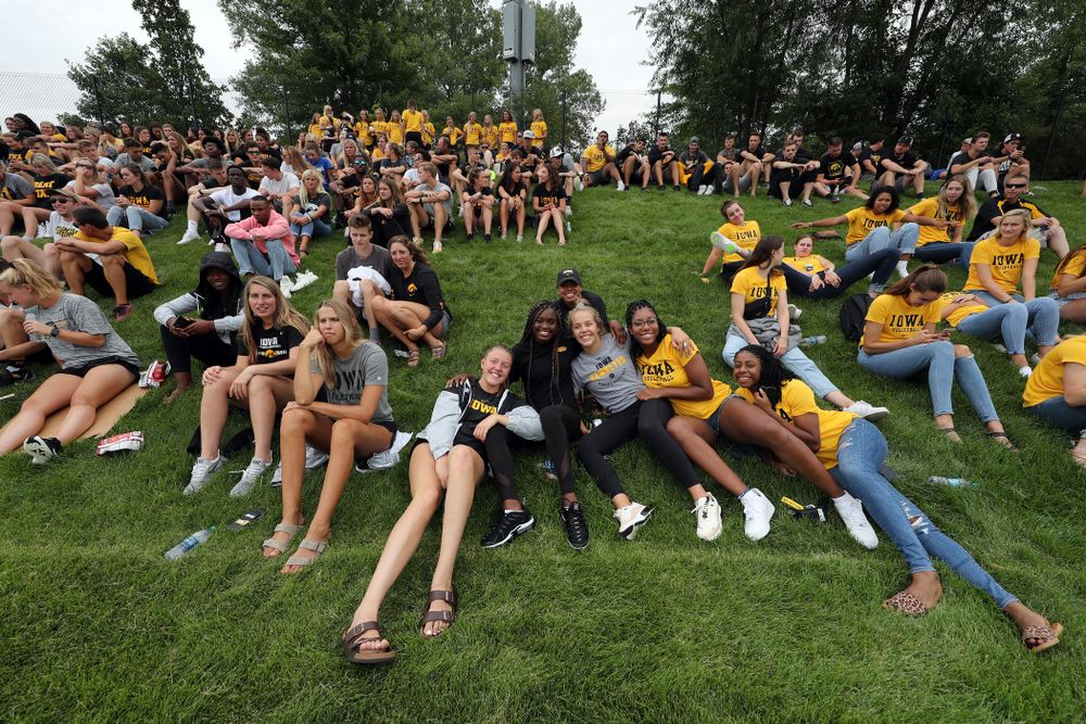Student athletes cheer on the Iowa Hawkeyes during a 6-1 win over Northern Iowa Sunday, August 25, 2019 at the Iowa Soccer Complex. (Brian Ray/hawkeyesports.com)