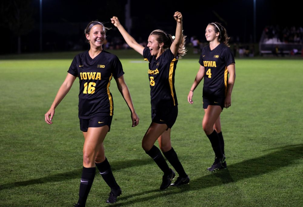 Iowa Hawkeyes midfielder Isabella Blackman (6) celebrates their 2-1 victory over the Iowa State Cyclones Thursday, August 29, 2019 in the Iowa Corn Cy-Hawk series at the Iowa Soccer Complex. (Brian Ray/hawkeyesports.com)