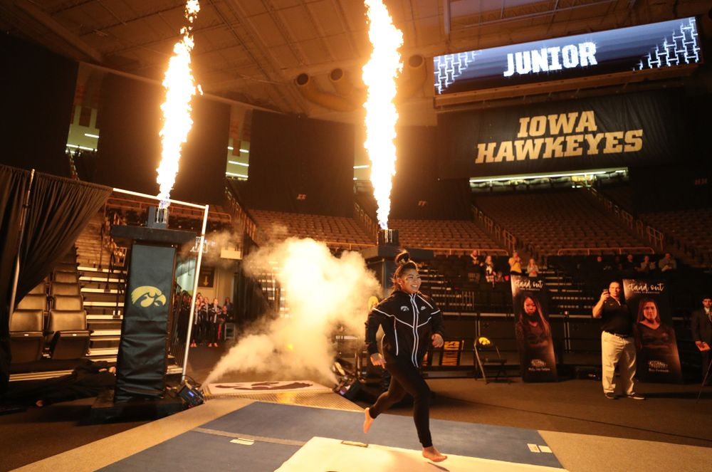 Iowa's Clair Kaji is introduced before their meet against Southeast Missouri State Friday, January 11, 2019 at Carver-Hawkeye Arena. (Brian Ray/hawkeyesports.com)