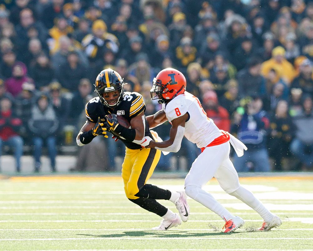 Iowa Hawkeyes wide receiver Tyrone Tracy Jr. (3) runs after pulling in a pass during the second quarter of their game at Kinnick Stadium in Iowa City on Saturday, Nov 23, 2019. (Stephen Mally/hawkeyesports.com)