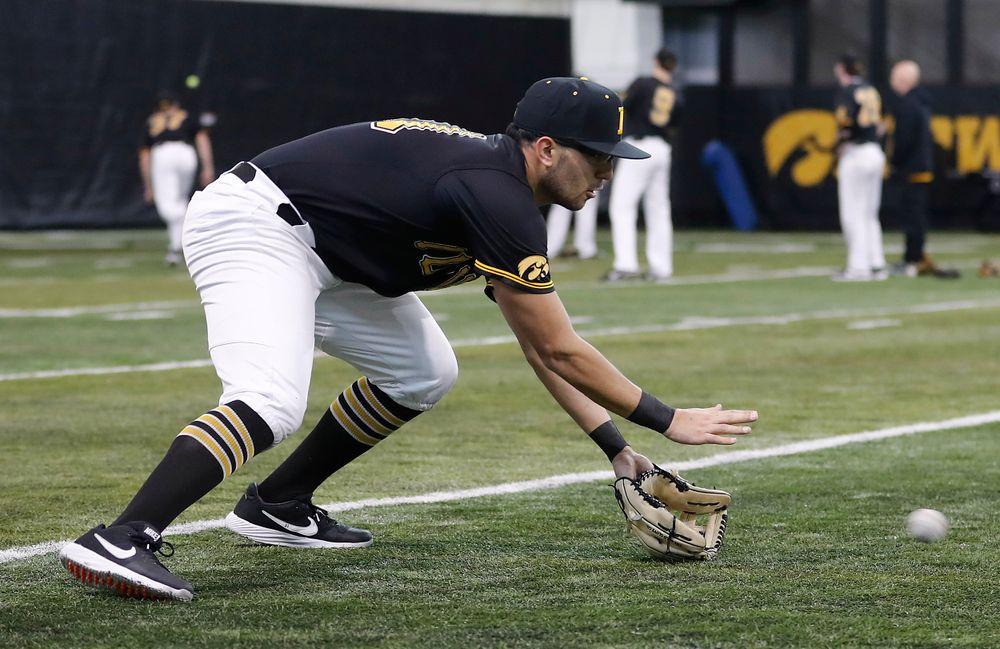 Matthew Sosa at first baseball practice on Jan. 25, 2019. (Darren Miller/hawkeyesports.com)