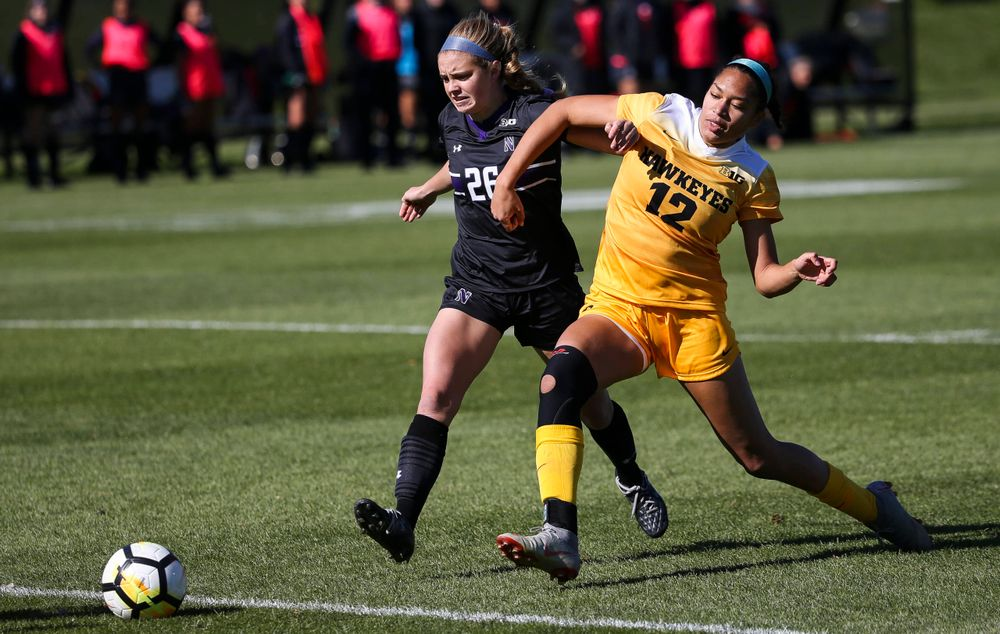 Iowa Hawkeyes forward Olivia Fiegel (12) chases down the ball during a game against Northwestern at the Iowa Soccer Complex on October 21, 2018. (Tork Mason/hawkeyesports.com)