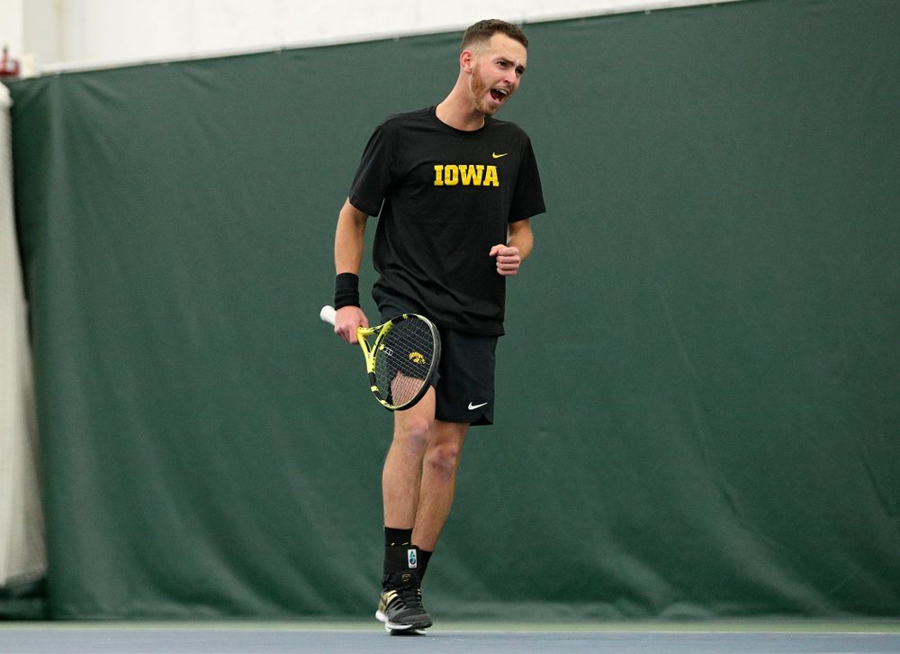 Iowa's Kareem Allaf celebrates a point during his singles match at the Hawkeye Tennis and Recreation Complex in Iowa City on Friday, February 14, 2020. (Stephen Mally/hawkeyesports.com)