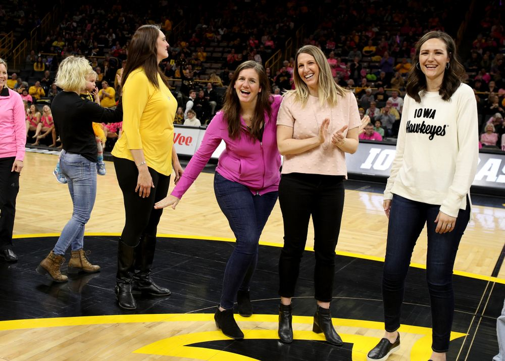 Former players are recognized at halftime of the Iowa Hawkeyes game against the Wisconsin Badgers Sunday, February 16, 2020 at Carver-Hawkeye Arena. (Brian Ray/hawkeyesports.com)