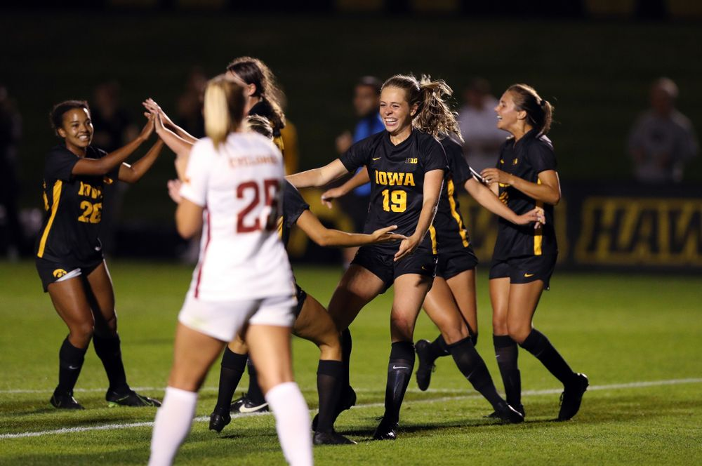 Iowa Hawkeyes forward Jenny Cape (19) celebrates after scoring during a 2-1 victory over the Iowa State Cyclones Thursday, August 29, 2019 in the Iowa Corn Cy-Hawk series at the Iowa Soccer Complex. (Brian Ray/hawkeyesports.com)