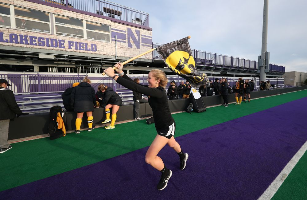 Iowa Hawkeyes Leslie Speight (96) celebrates their victory against the Michigan Wolverines in the semi-finals of the Big Ten Tournament Friday, November 2, 2018 at Lakeside Field on the campus of Northwestern University in Evanston, Ill. (Brian Ray/hawkeyesports.com)