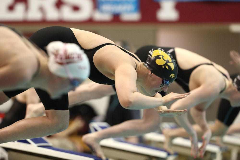Iowa's Hannah Burvill swims the 50-yard freestyle during the 2019 Women's Big Ten Swimming and Diving meet Thursday, February 21, 2019 in Bloomington, Indiana. (Brian Ray/hawkeyesports.com)