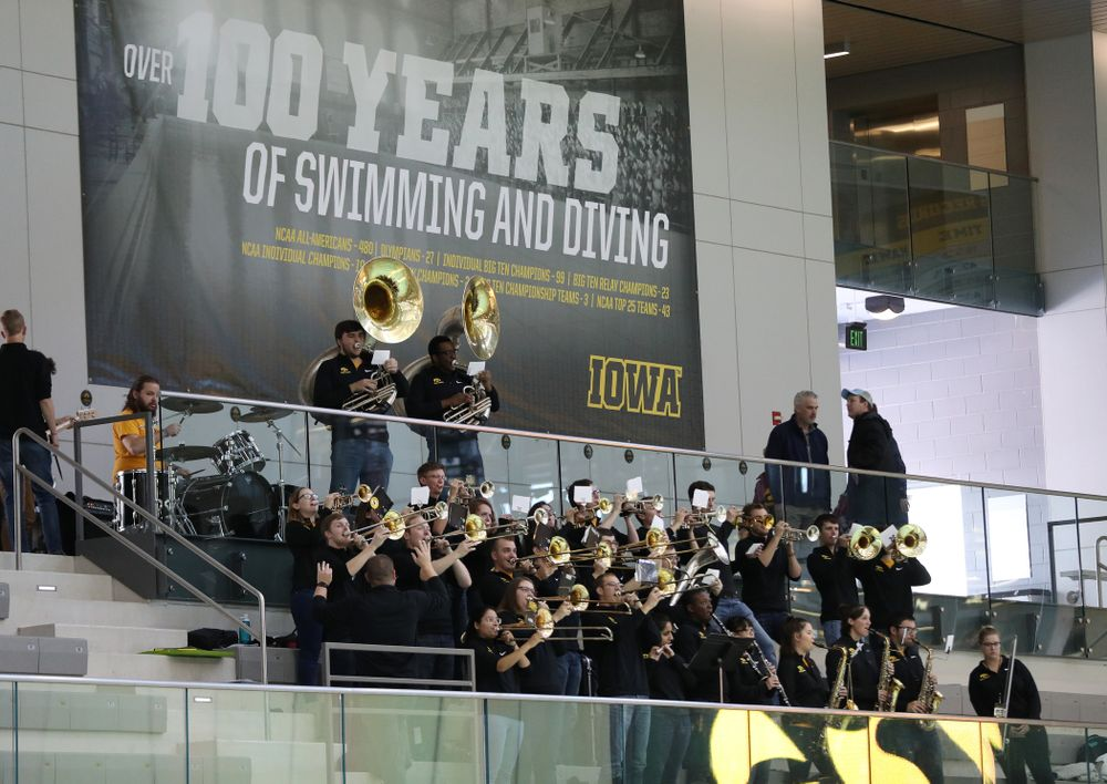 The Iowa Pep Band during a double dual against Wisconsin and Northwestern Saturday, January 19, 2019 at the Campus Recreation and Wellness Center. (Brian Ray/hawkeyesports.com)