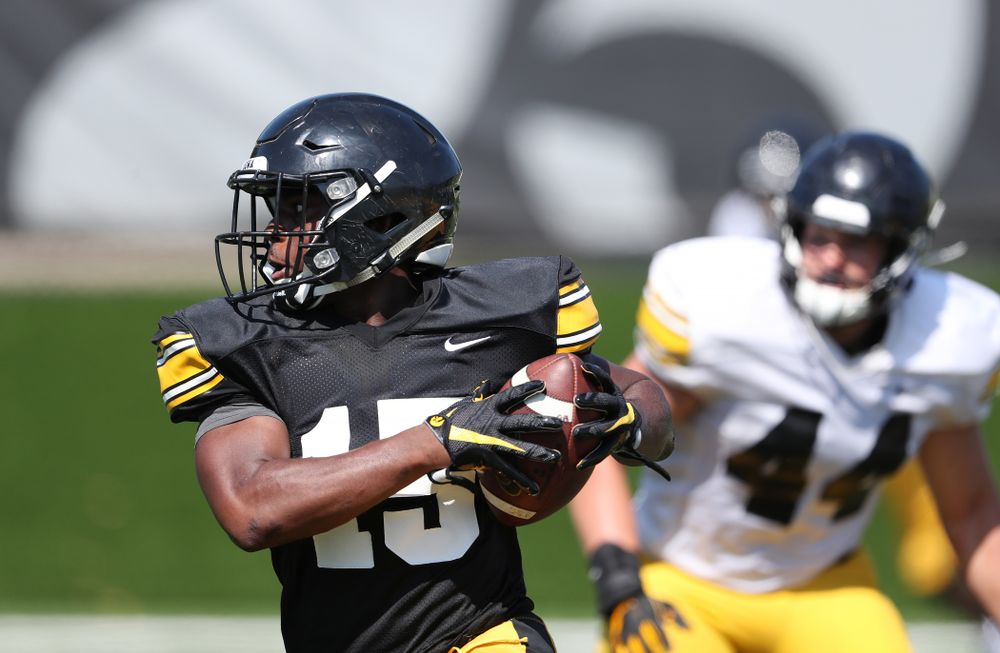 Iowa Hawkeyes running back Tyler Goodson (15) during Fall Camp Practice No. 5 Tuesday, August 6, 2019 at the Ronald D. and Margaret L. Kenyon Football Practice Facility. (Brian Ray/hawkeyesports.com)