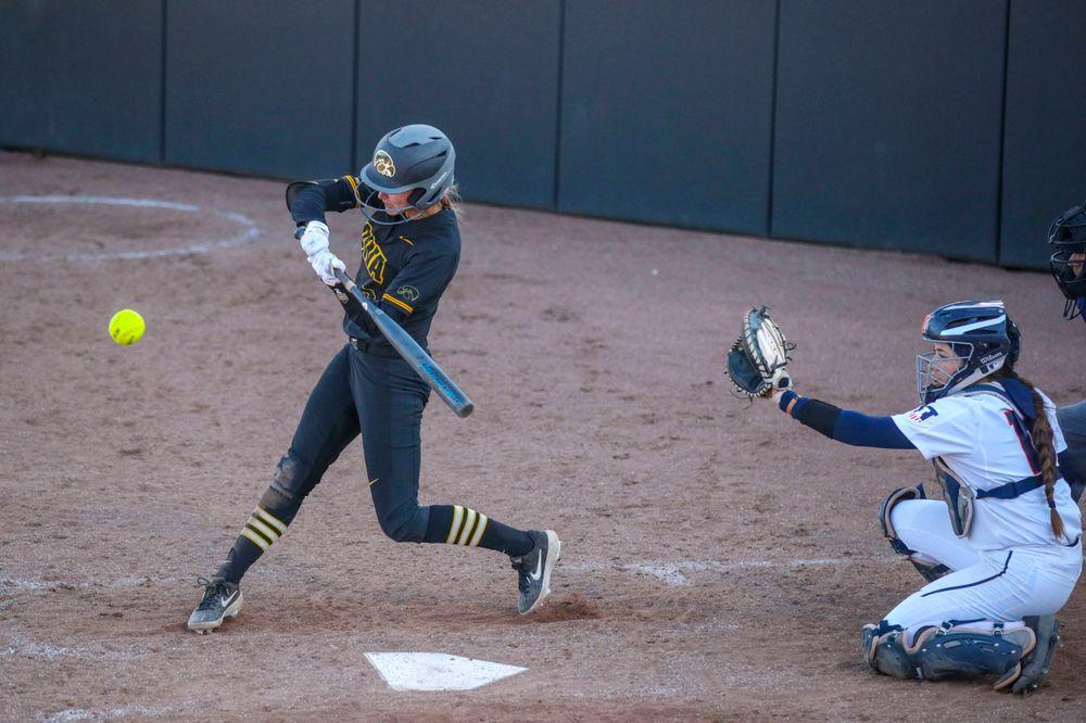 IowaÕs Aralee Bogar (2) at softball vs Illinois game 3 on Saturday, April 13, 2019 at Bob Pearl Field. (Lily Smith/hawkeyesports.com)