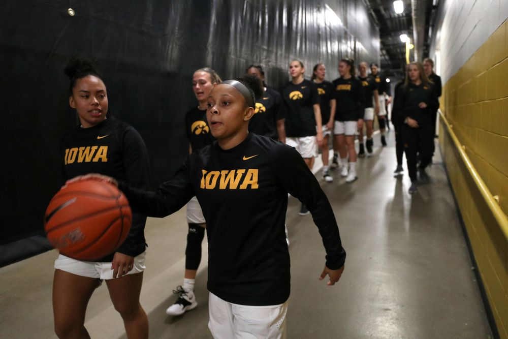 Iowa Hawkeyes guard Tania Davis (11) against Dakota Wesleyan University Tuesday, November 6, 2018 at Carver-Hawkeye Arena. (Brian Ray/hawkeyesports.com)