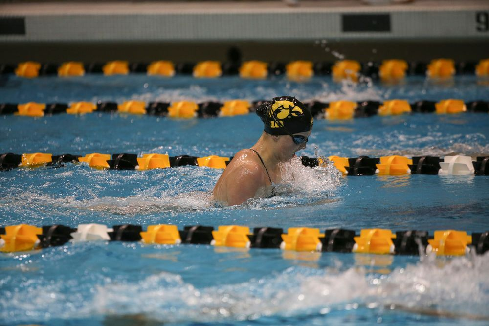 Iowa's Christina Crane swims the 200-yard breaststroke during the Iowa swimming and diving meet vs Notre Dame and Illinois on Saturday, January 11, 2020 at the Campus Recreation and Wellness Center. (Lily Smith/hawkeyesports.com)