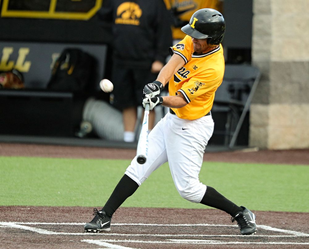 Iowa outfielder Justin Jenkins (6) drives a pitch for a hit during the fifth inning of the first game of the Black and Gold Fall World Series at Duane Banks Field in Iowa City on Tuesday, Oct 15, 2019. (Stephen Mally/hawkeyesports.com)