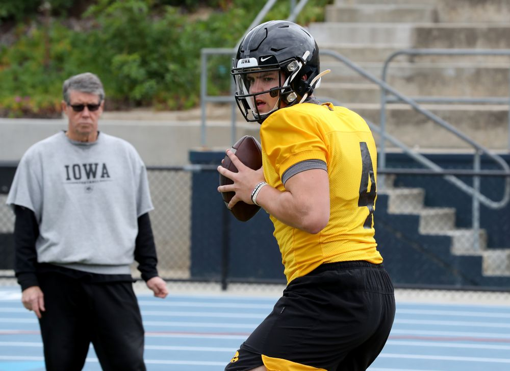 Iowa Hawkeyes quarterback Nate Stanley (4) during practice Sunday, December 22, 2019 at Mesa College in San Diego. (Brian Ray/hawkeyesports.com)