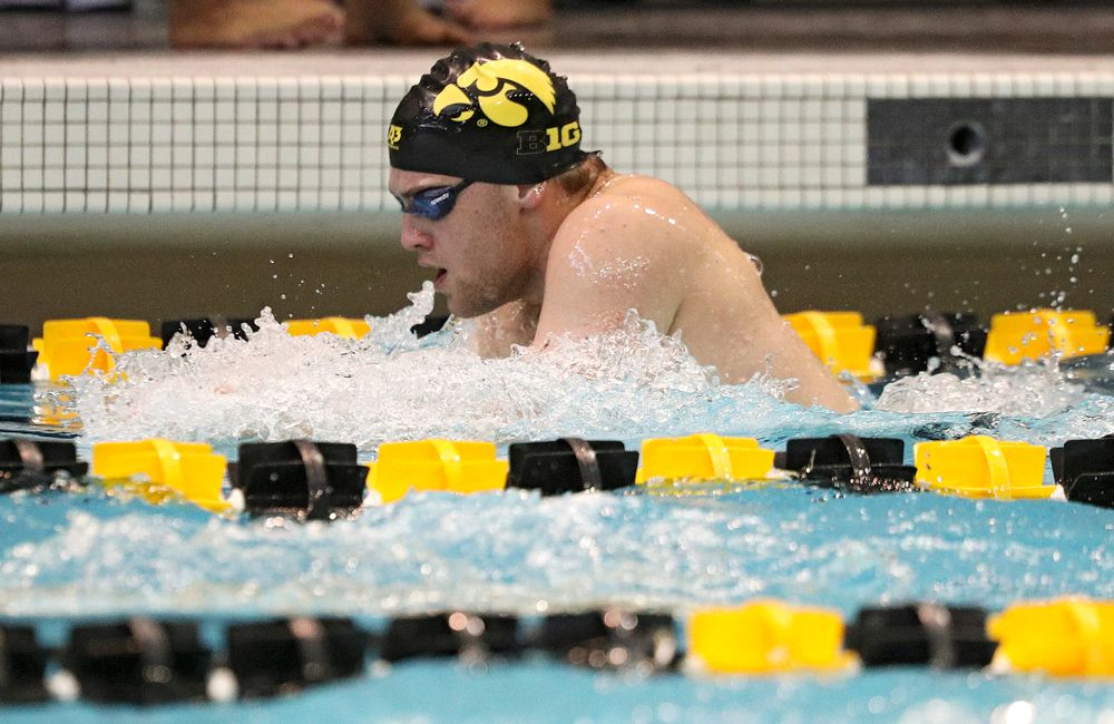 Iowa's Caleb Babb swims the men's 200-yard breaststroke event during their meet against Michigan State and Northern Iowa at the Campus Recreation and Wellness Center in Iowa City on Friday, Oct 4, 2019. (Stephen Mally/hawkeyesports.com)