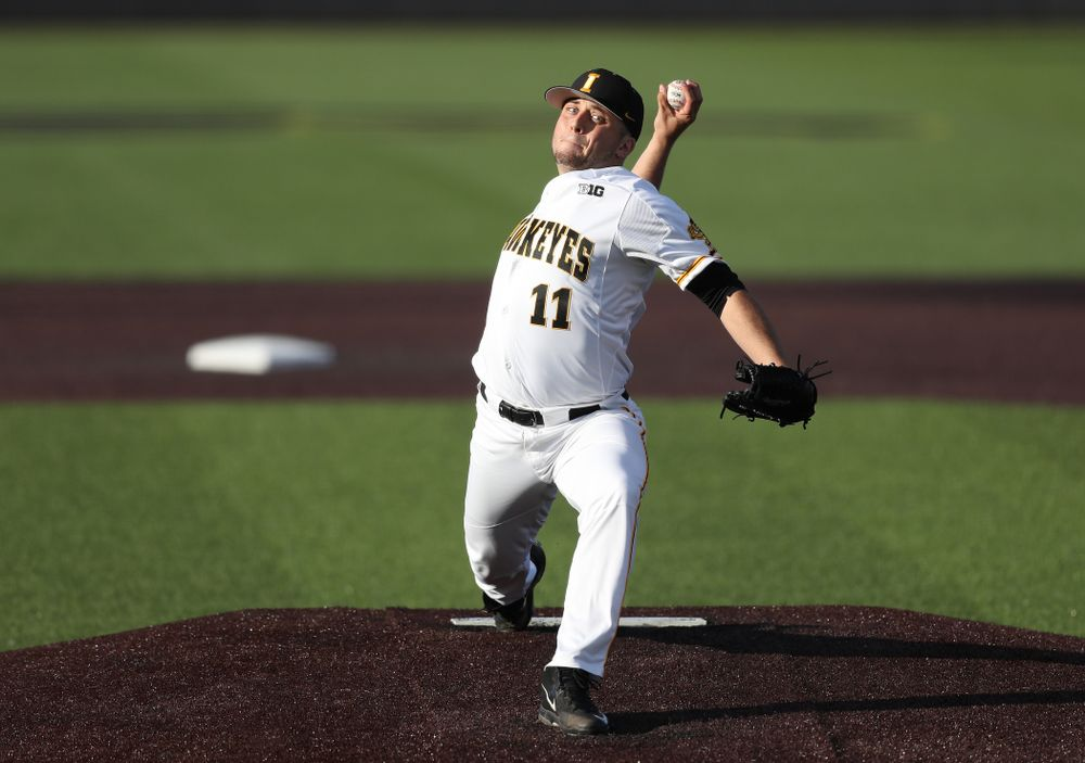 Iowa Hawkeyes Cole McDonald (11) against the Michigan State Spartans Friday, May 10, 2019 at Duane Banks Field. (Brian Ray/hawkeyesports.com)