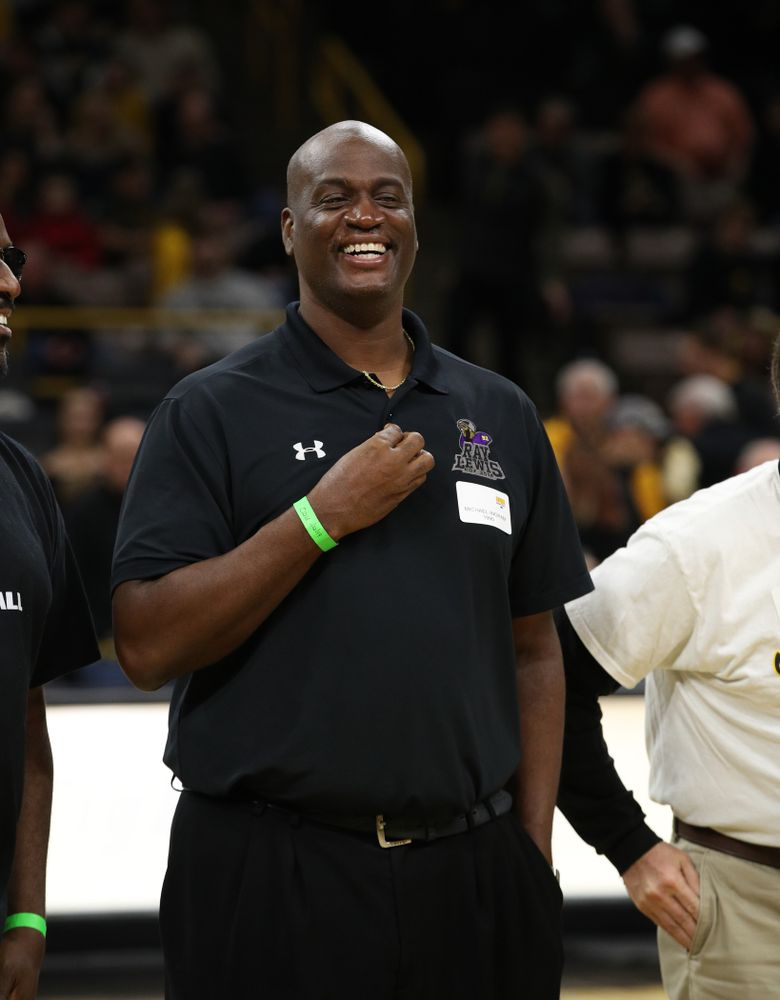 Former Iowa Hawkeye letterman Michael Ingram is recognized during half-time against the Ohio State Buckeyes Saturday, January 12, 2019 at Carver-Hawkeye Arena. (Brian Ray/hawkeyesports.com)