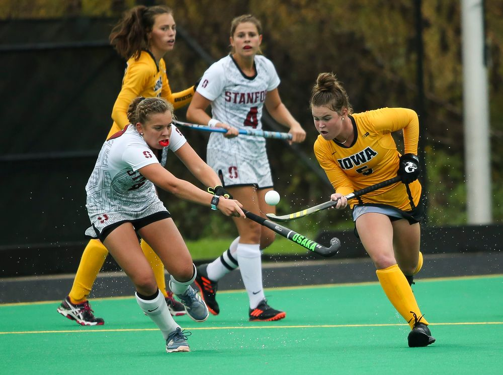 Iowa Hawkeyes midfielder Meghan Conroy (5) juggles the ball during a game against Stanford at Grant Field on October 7, 2018. (Tork Mason/hawkeyesports.com)