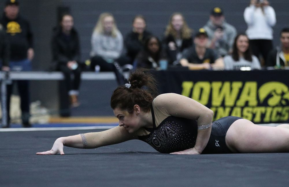 Erin Castle competes on the floor during the Black and Gold intrasquad meet Saturday, December 1, 2018 at the University of Iowa Field House. (Brian Ray/hawkeyesports.com)