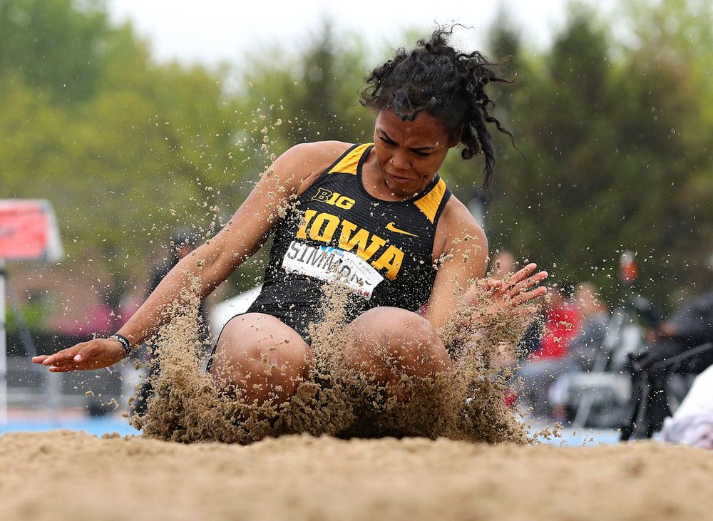 Iowa's Tria Simmons jumps in the women's long jump in the heptathlon event on the second day of the Big Ten Outdoor Track and Field Championships at Francis X. Cretzmeyer Track in Iowa City on Saturday, May. 11, 2019. (Stephen Mally/hawkeyesports.com)