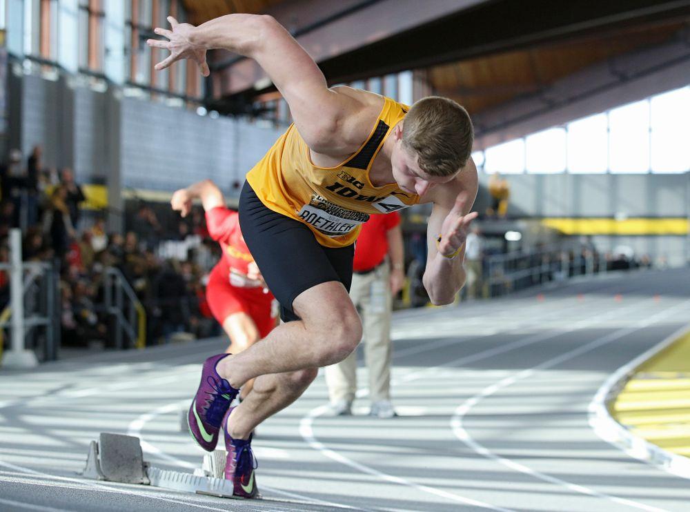 Iowa's Nolan Roethler runs the men's 400 meter dash event during the Larry Wieczorek Invitational at the Recreation Building in Iowa City on Saturday, January 18, 2020. (Stephen Mally/hawkeyesports.com)