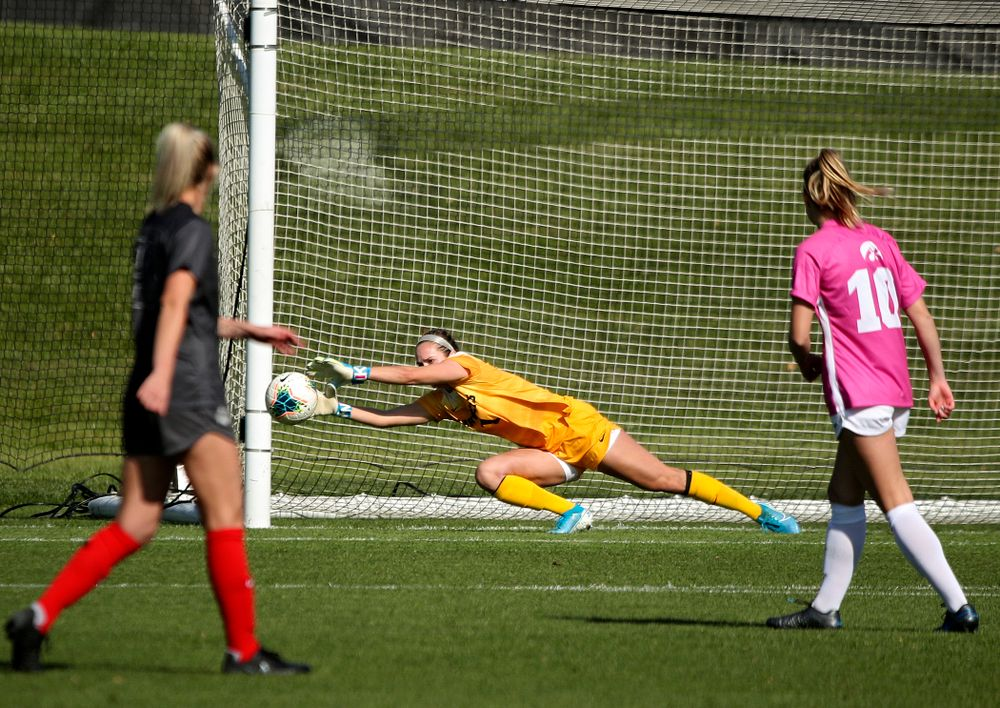 Iowa goalkeeper Claire Graves (1) grabs a save during the first half of their match at the Iowa Soccer Complex in Iowa City on Sunday, Oct 27, 2019. (Stephen Mally/hawkeyesports.com)