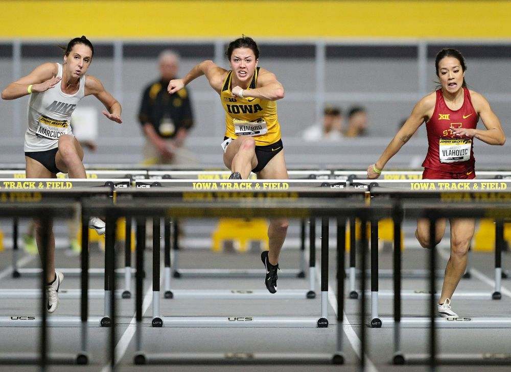 Iowa's Jenny Kimbro runs the women's 60 meter hurdles event during the Jimmy Grant Invitational at the Recreation Building in Iowa City on Saturday, December 14, 2019. (Stephen Mally/hawkeyesports.com)
