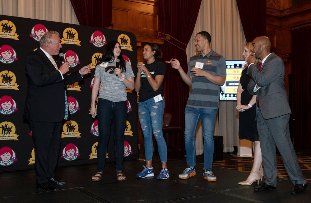 Iowa Hawkeyes forward Megan Gustafson (10) plays family feud with the other Wooden Award finalists during the Wooden Award DukeÕs Dinner Thursday, April 11, 2019 at the LA Athletic Club. (Brian Ray/hawkeyesports.com)