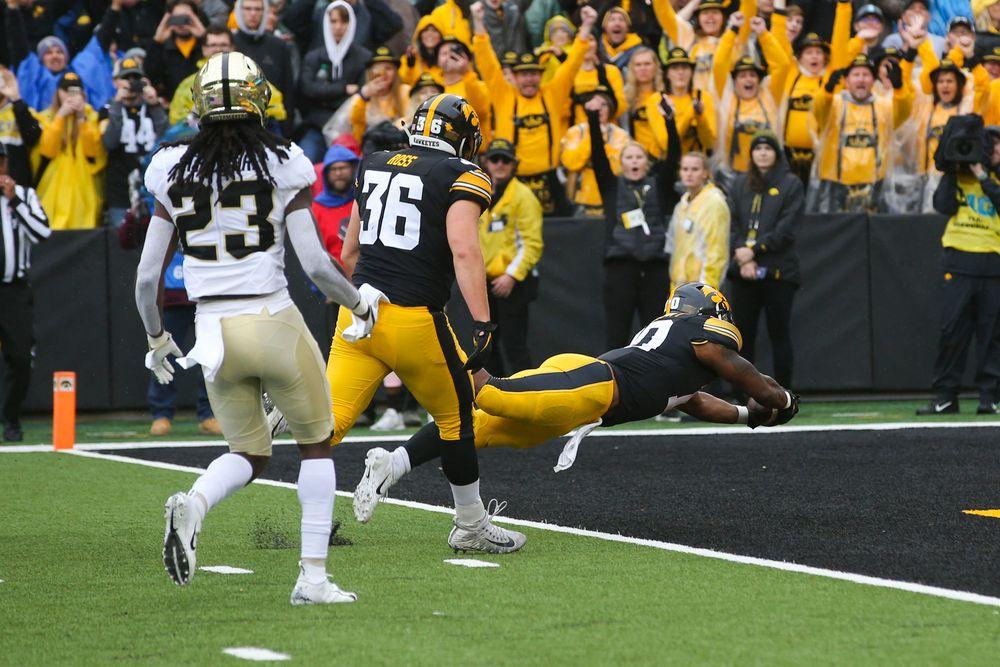 Iowa Hawkeyes running back Mekhi Sargent (10) during Iowa football vs Purdue on Saturday, October 19, 2019 at Kinnick Stadium. (Lily Smith/hawkeyesports.com)