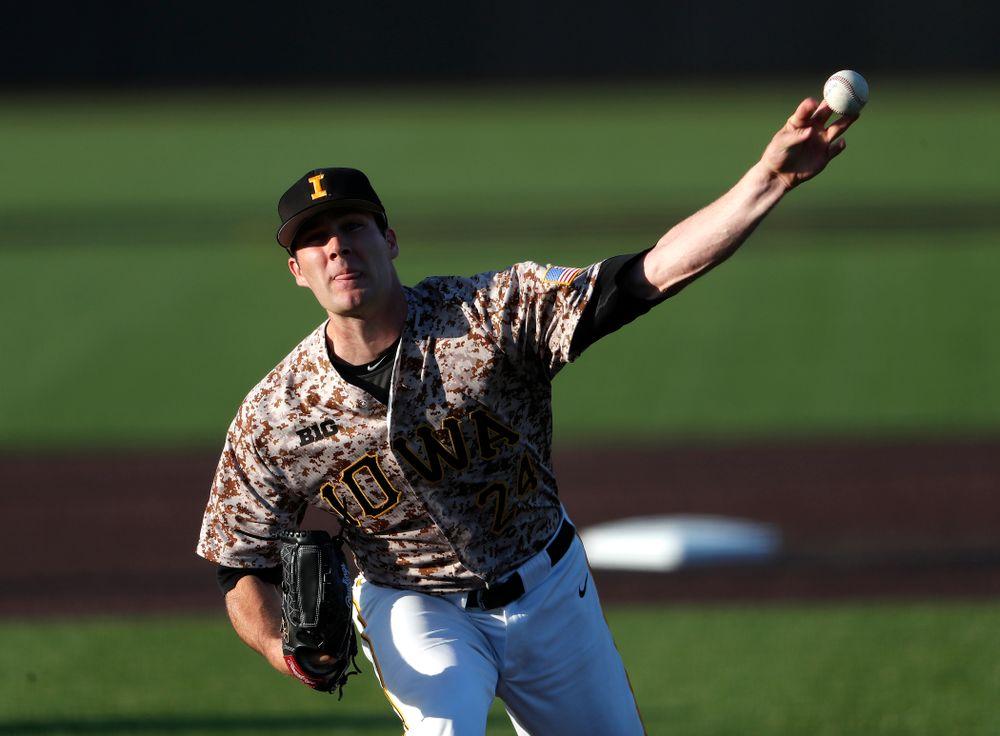 Iowa Hawkeyes pitcher Nick Allgeyer (24) against Oklahoma State Friday, May 4, 2018 at Duane Banks Field. (Brian Ray/hawkeyesports.com)
