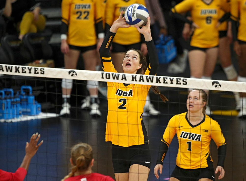 Iowa's Courtney Buzzerio (2) eyes the ball during their match at Carver-Hawkeye Arena in Iowa City on Sunday, Oct 20, 2019. (Stephen Mally/hawkeyesports.com)