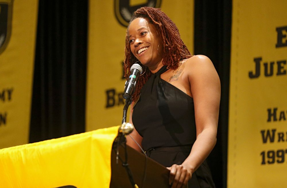 2019 University of Iowa Athletics Hall of Fame inductee Tangela Smith speaks during the Hall of Fame Induction Ceremony at the Coralville Marriott Hotel and Conference Center in Coralville on Friday, Aug 30, 2019. (Stephen Mally/hawkeyesports.com)