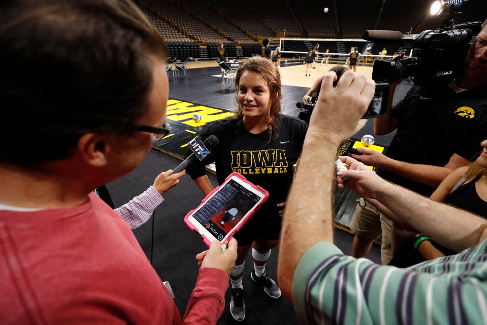Iowa Hawkeyes defensive specialist Molly Kelly (1) during the team's annual media day Friday, August 17, 2018 at Carver-Hawkye Arena. (Brian Ray/hawkeyesports.com)
