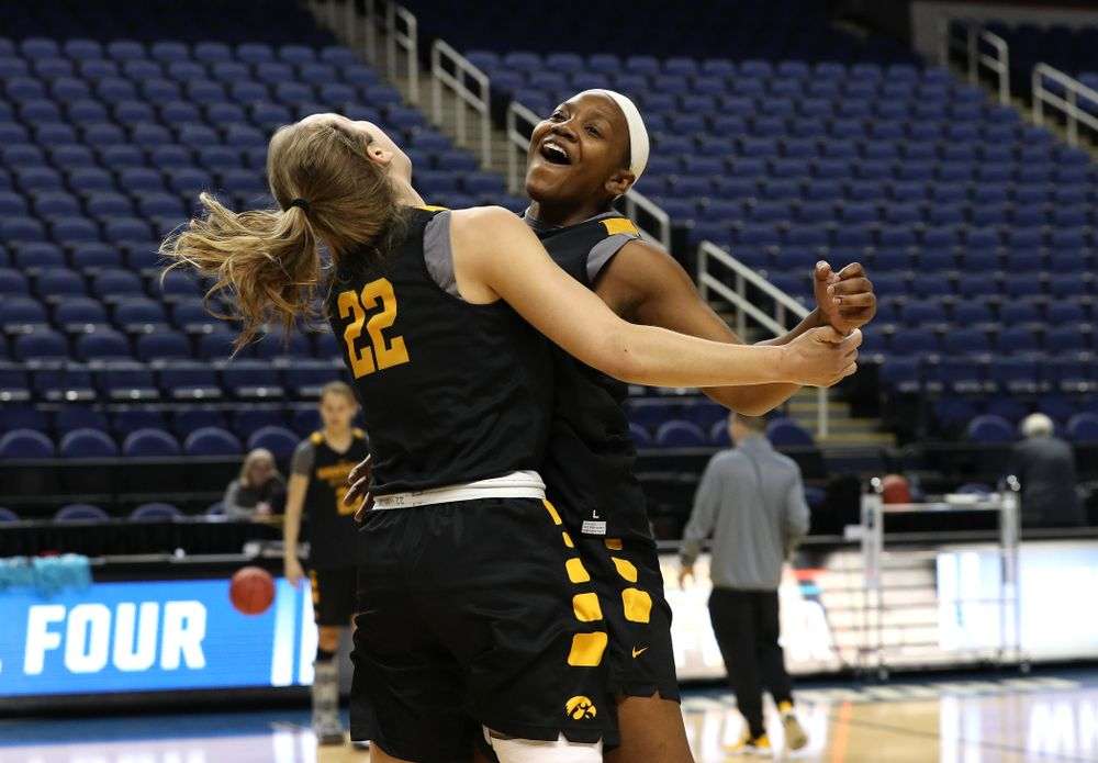 Iowa Hawkeyes guard Kathleen Doyle (22) and guard Zion Sanders (24) during media and practice as they prepare for their Sweet 16 matchup against NC State Friday, March 29, 2019 at the Greensboro Coliseum in Greensboro, NC.(Brian Ray/hawkeyesports.com)