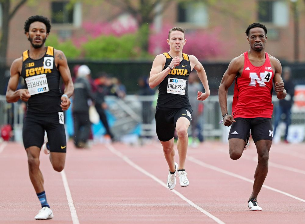 Iowa's Chris Thompson runs the men's 400 meter dash event on the second day of the Big Ten Outdoor Track and Field Championships at Francis X. Cretzmeyer Track in Iowa City on Saturday, May. 11, 2019. (Stephen Mally/hawkeyesports.com)