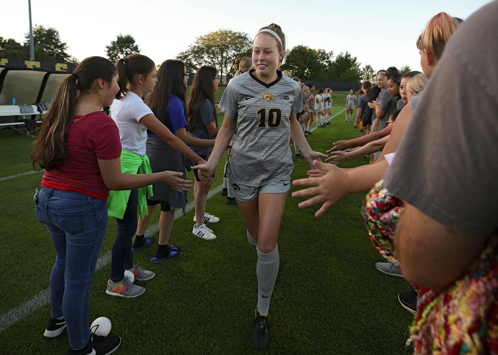 Iowa midfielder/defender Natalie Winters (10) is introduced before their match at the Iowa Soccer Complex in Iowa City on Friday, Sep 13, 2019. (Stephen Mally/hawkeyesports.com)
