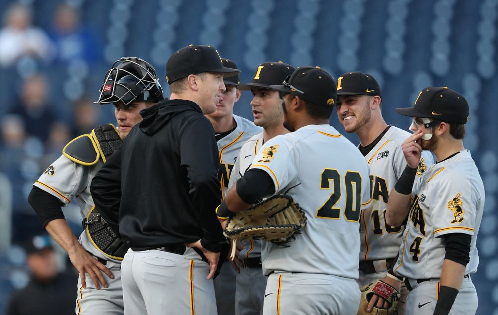 Iowa Hawkeyes pitching coach Tom Gorzelanny against the Indiana Hoosiers in the first round of the Big Ten Baseball Tournament Wednesday, May 22, 2019 at TD Ameritrade Park in Omaha, Neb. (Brian Ray/hawkeyesports.com)