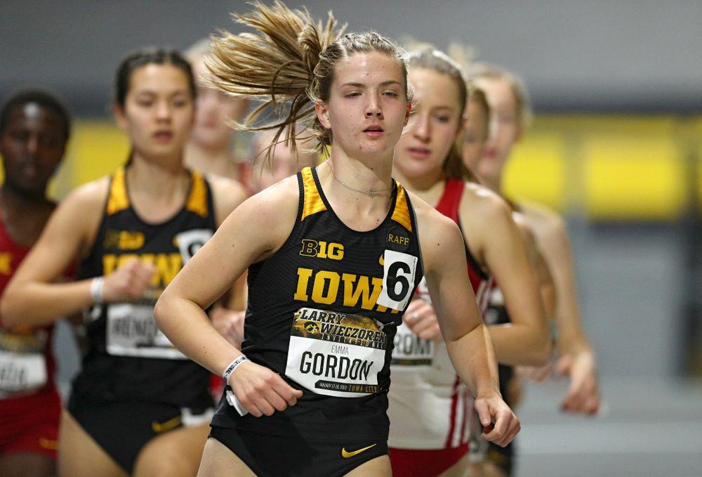 Iowa's Emma Gordon runs the women's 3000 meter run event during the Larry Wieczorek Invitational at the Recreation Building in Iowa City on Friday, January 17, 2020. (Stephen Mally/hawkeyesports.com)