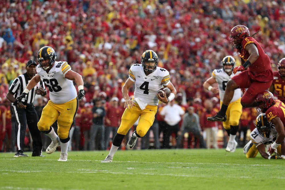 Iowa Hawkeyes quarterback Nate Stanley (4) against the Iowa State Cyclones Saturday, September 14, 2019 at Jack Trice Stadium in Ames, Iowa. (Brian Ray/hawkeyesports.com)