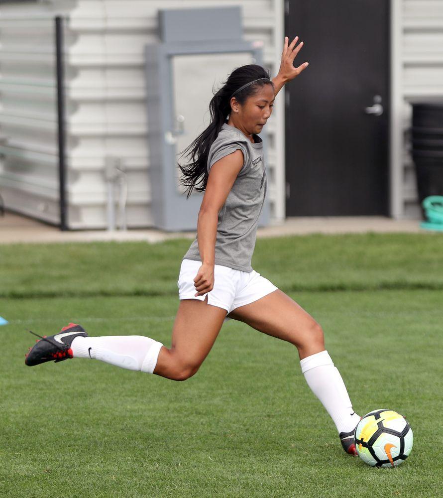 University of Iowa women's soccer practice Aug. 6, 2018.