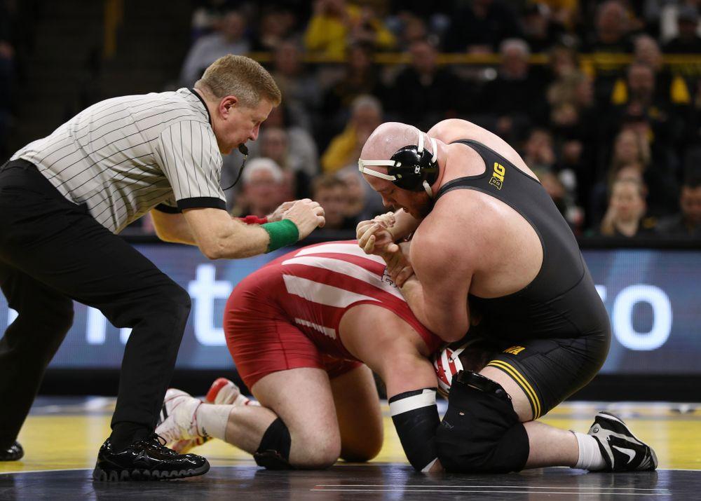 Iowa's Sam Stoll wrestles Indiana's Fletcher Miller at heavyweight Friday, February 15, 2019 at Carver-Hawkeye Arena. (Brian Ray/hawkeyesports.com)