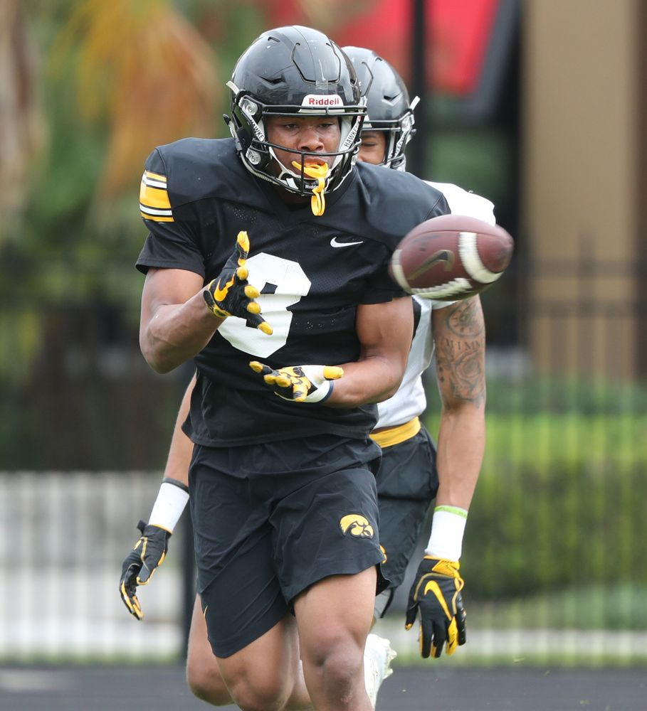 Iowa Hawkeyes wide receiver Tyrone Tracy Jr. (3) as the team prepares for the Outback Bowl Saturday, December 29, 2018 at Tampa University. (Brian Ray/hawkeyesports.com)