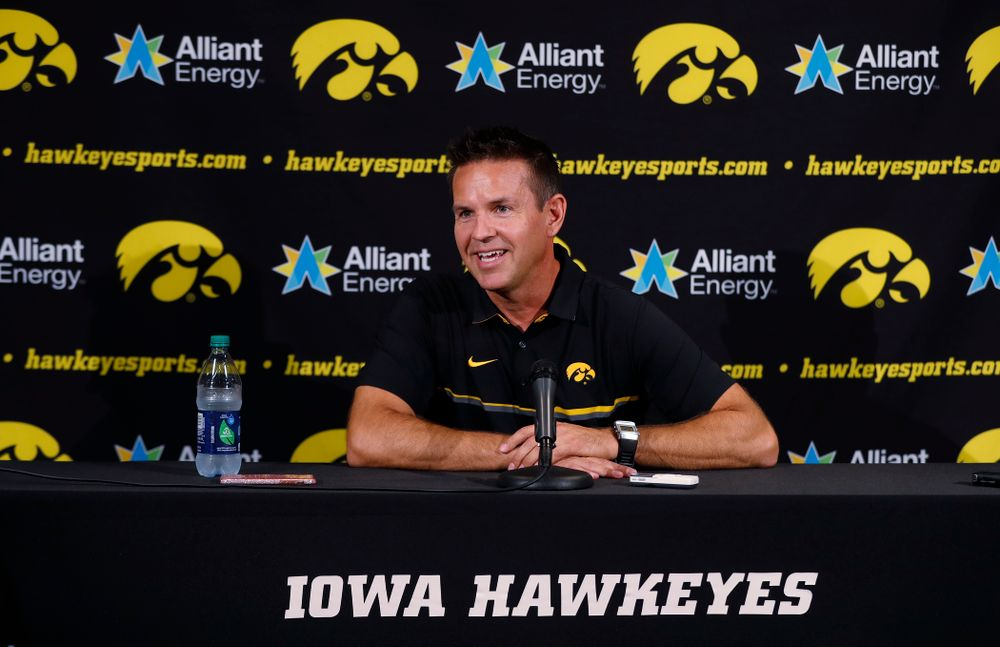 Iowa Hawkeyes head coach Bond Shymansky answers questions from reporters during the team's annual media day Friday, August 17, 2018 at Carver-Hawkye Arena. (Brian Ray/hawkeyesports.com)