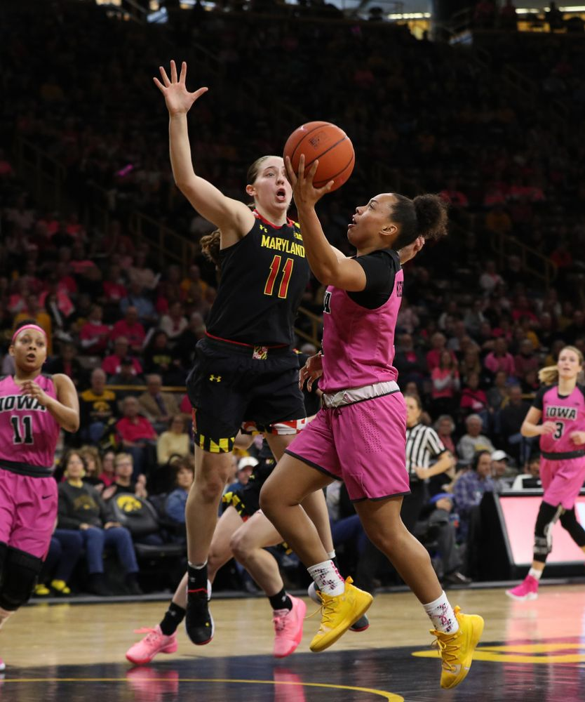 Iowa Hawkeyes guard Alexis Sevillian (5) against the seventh ranked Maryland Terrapins Sunday, February 17, 2019 at Carver-Hawkeye Arena. (Brian Ray/hawkeyesports.com)