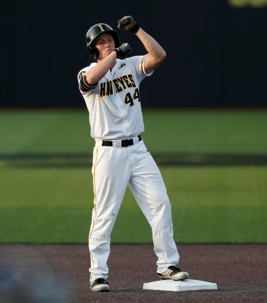Iowa Hawkeyes outfielder Robert Neustrom (44) doubles against the Penn State Nittany Lions  Thursday, May 17, 2018 at Duane Banks Field. (Brian Ray/hawkeyesports.com)